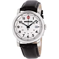 Wenger Urban Classic men's quartz Watch with silver Dial analogue Display and brown leather Strap 011041101