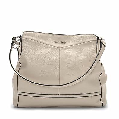 eadb2a9be27c Franco Sarto Womens Brielle Faux Leather Shoulder Handbag Ivory Large   Handbags  Amazon.com