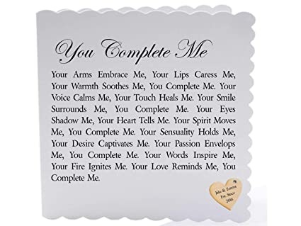Personalised Romantic Poem Scroll - You Complete Me (A4)  Love