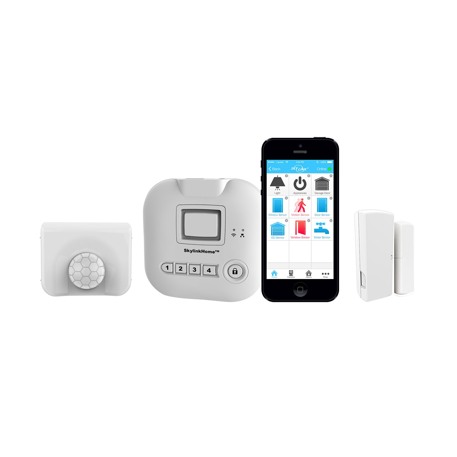 Skylink SK-150 Basic Starter Kit Connected Wireless Alarm Security and Home Automation System, Ios Iphone Android Smartphone, Echo Alexa and Ifttt Compatible with No Monthly Fees. , White