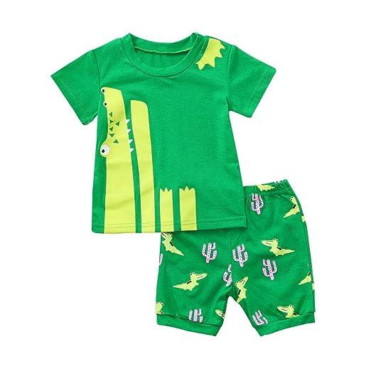 f25e666d121 Amazon.com  WARMSHOP 2PCS Pajamas for Girls Boys Toddler Short Sleeve  Cartoon 100% Cotton Casual Summer Sleepwear Outfits Set  Clothing