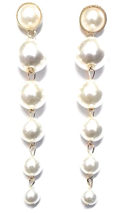 7379f994653fb Buy Glitz Trendy Elegant Big Simulated Pearl Long Earrings String ...