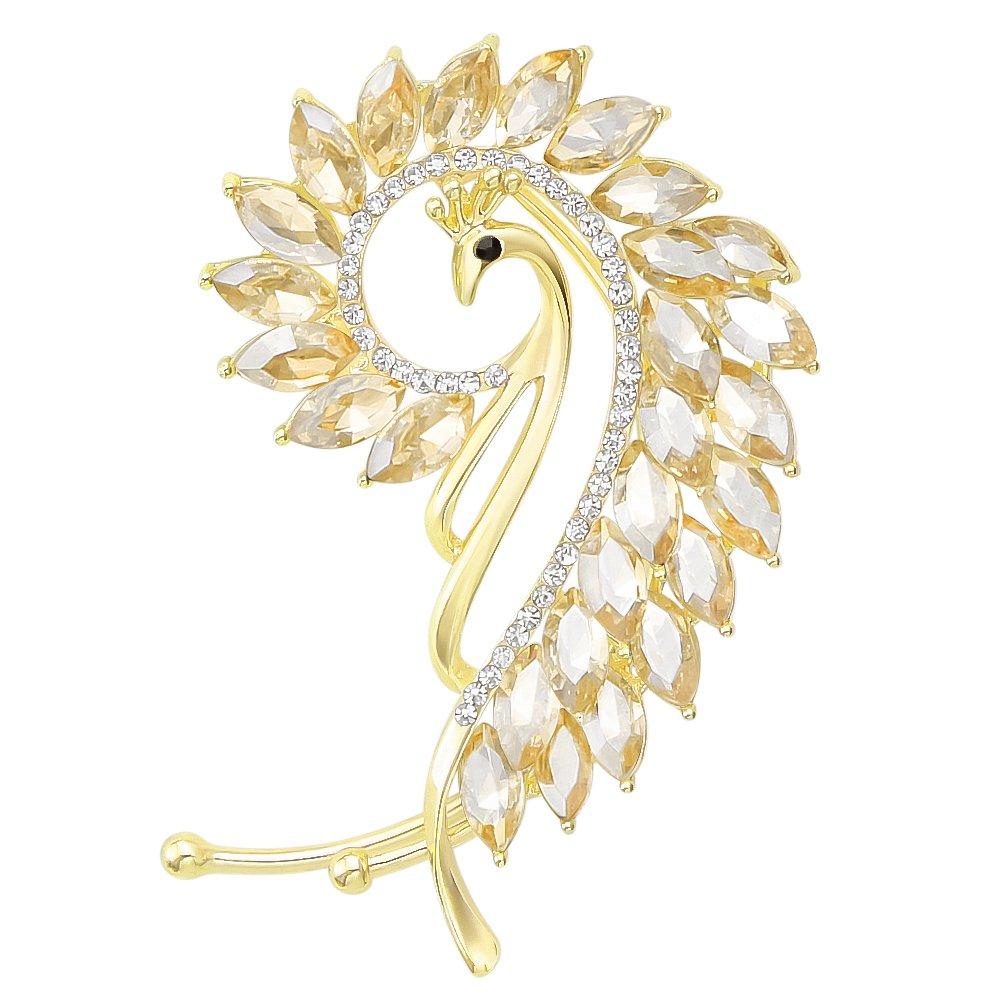 Novelty Gold-Tone Cat Eye Peacock Left Side Ear Wrap Cuffs Earrings Non Pierced Earrring Champagne Color