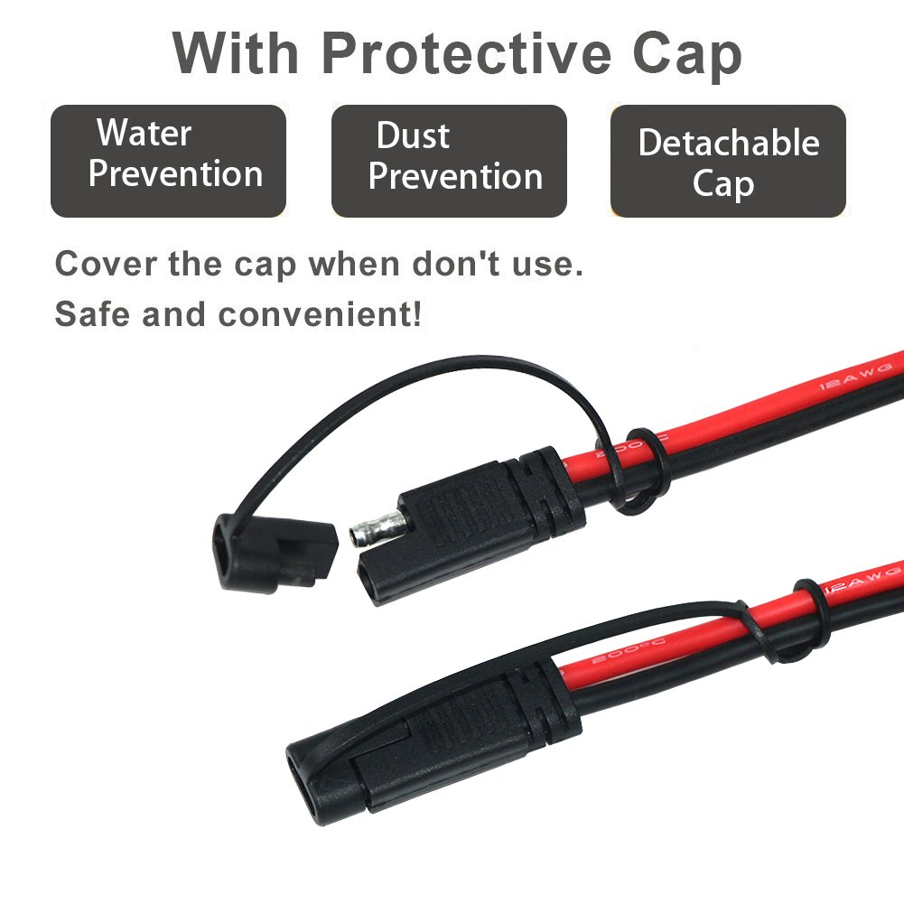 KUNCAN 3FT Sae to Sae Extension Cable DC Power Heavy Duty 12AWG 2 Pin Quick Disconnect Wire Harness with Waterproof Cover