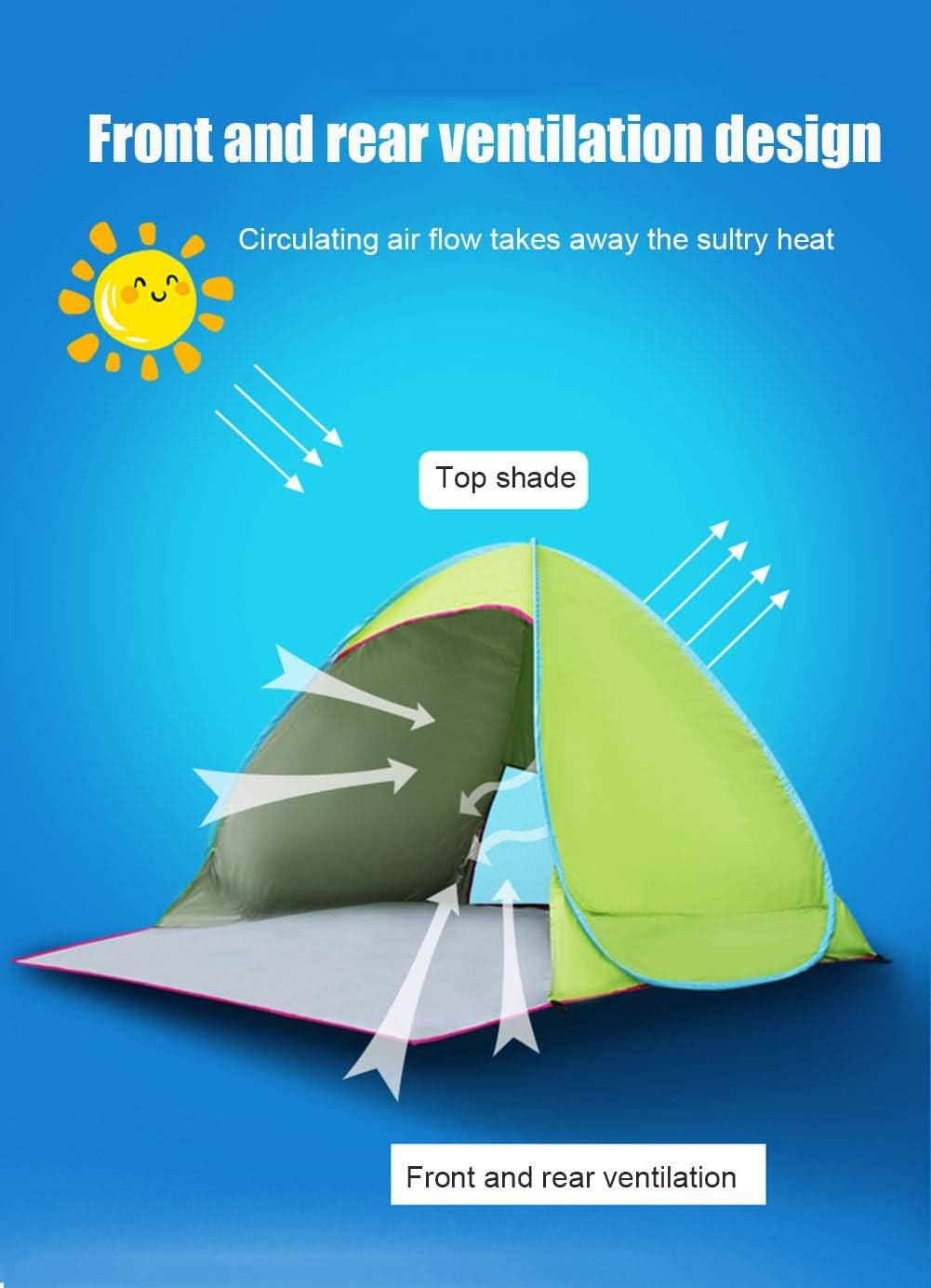 QLGRXWL Tienda de Playa emergente, 2-3 Personas Portátil Tienda de campaña para niños al Aire Libre Anti-UV 50+ Sombrilla, Camping al Aire Libre Picnic en la Playa E
