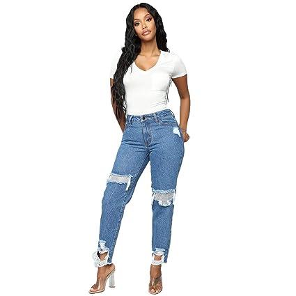 Skinny Jeans Donna A Vita Alta Elastico Denim Lunghi Matita Pantaloni Eleganti Leggings