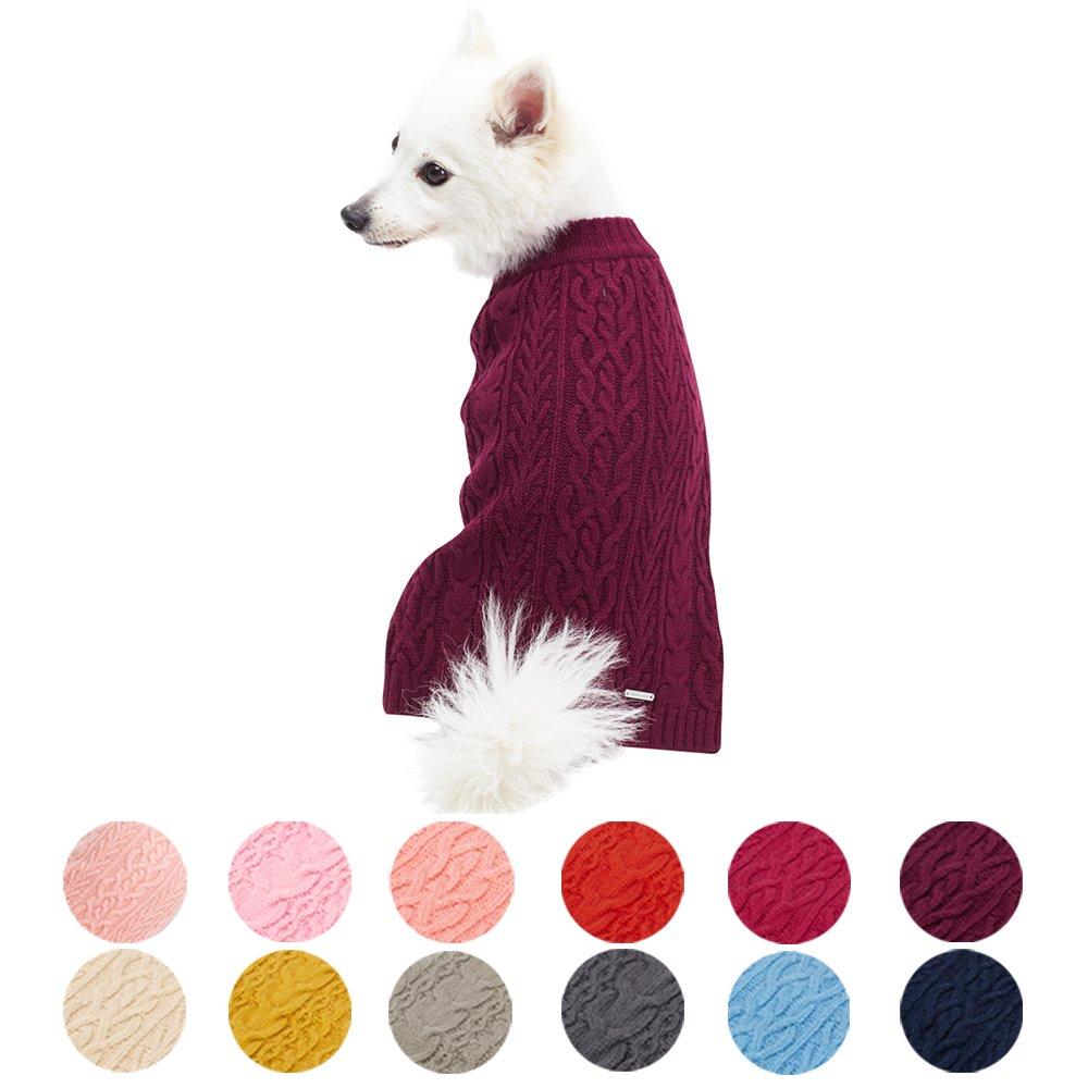 Blueberry Pet 13 Colors Classic Wool Blend Cable Knit Pullover Dog Sweater in Burgundy, Back Length 20'', Pack of 1 Clothes for Dogs