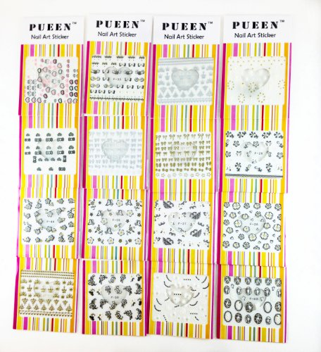 PUEEN 3D Nail Art Sticker Collection Set F2 - 16 Packs in Different Designs (Over 400 Stickers) Black & White Glitter Rhinestones 3D Lace Patterns Flowers Butterflies Hearts Nail Art Decal Decorations Stickers-BH000509