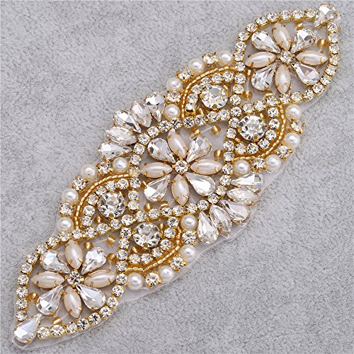 Wedding Rhinestone Applique - Bridal Crystal Applique Pearls Beaded Dacorations Handcrafted Sparkle Elegant Sewn or Hot Fix for Women Gown Sash Evening Prom Party Dress Belt Clothes - Gold (Valentines Party Dresses)