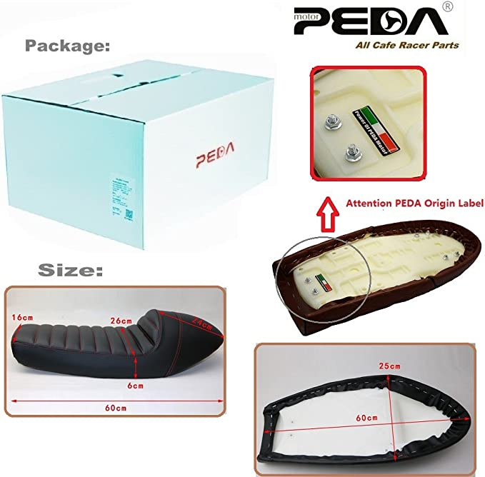 Amazon.com: Peda Cafe Racer Asiento 60 cm joroba Sillín para ...
