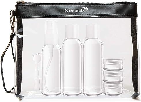 Neceser Transparente para líquidos de Nomalite | Bolso de baño Transparente, Incluye Botellas de plástico para Viajar de 100 mL (Set con 6 contenedores Transparentes). Ideal para Equipaje de Mano.: Amazon.es: Equipaje