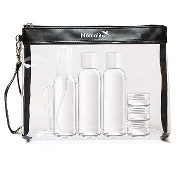 d27d3d586 Neceser transparente para líquidos de Nomalite | Bolso de baño  transparente, incluye botellas de plástico