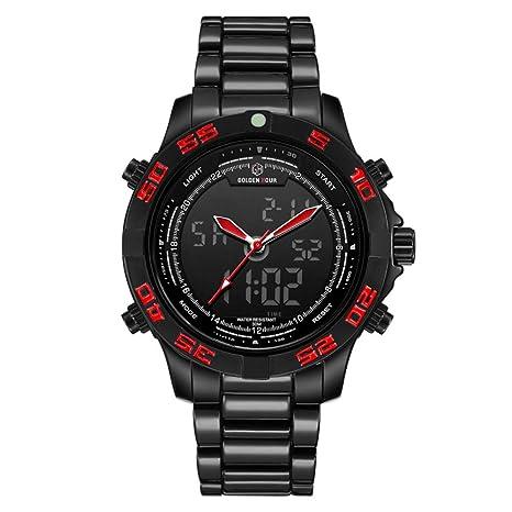 Relojes para Hombre Sport Quartz Waterproof Mens Reloj Digital De Acero Inoxidable Relogio Masculino,Redneedle