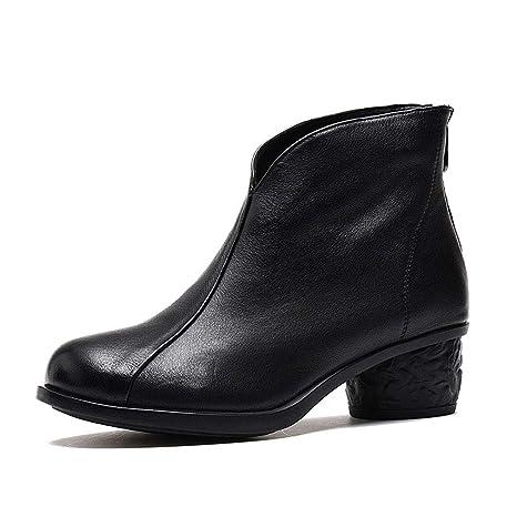 YAN Botines para Mujer, Cuero Otoño Invierno Martin Botas Botas de Cuero Vintage Zapatos de