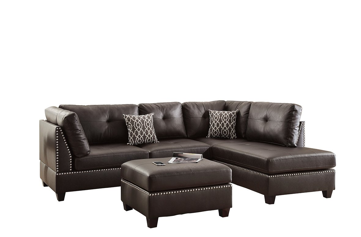 Poundex F6973 Bobkona Viola Faux Leather Left or Right Hand Chaise Sectional Set with Ottoman (Pack of 3), Espresso by Poundex