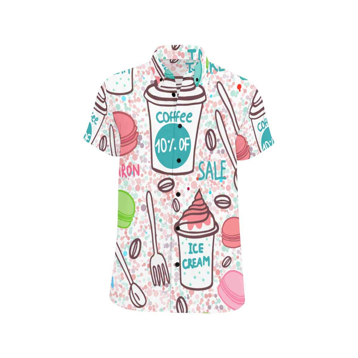InterestPrint Macaroons Coffee Ice Cream Shirts Summer Short Sleeve Stand Collar Casual T-Shirt Beach Tops for Men