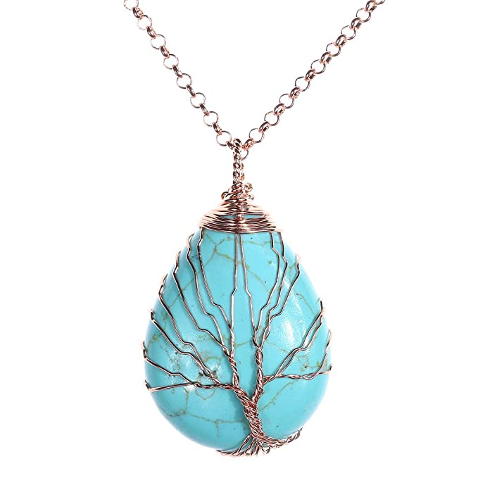 Amazon.com: Top Plaza Wire Wrapped Tree of Life Natural Gemstone ...