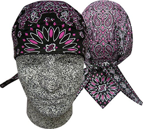 Black Paintball Deluxe - Danbanna Deluxe Combo Pink Black Paisley Headwrap Doo Rag Skull Cap Durag Sweatband Adjustable Ties