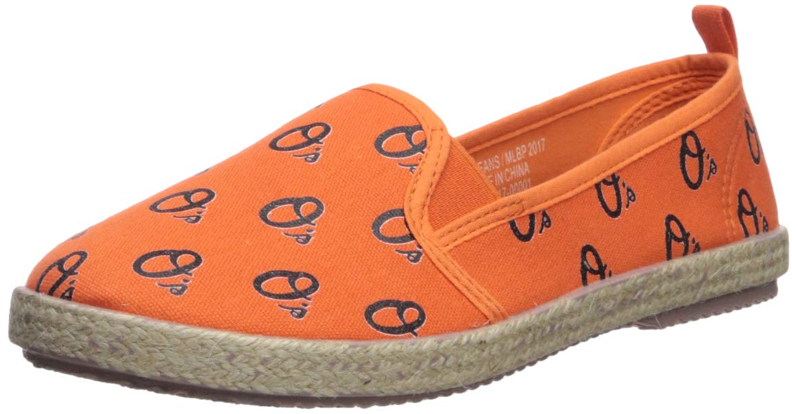 FOCO MLB Baltimore Orioles Women's Espadrille Canvas Shoes, Small, Team Color