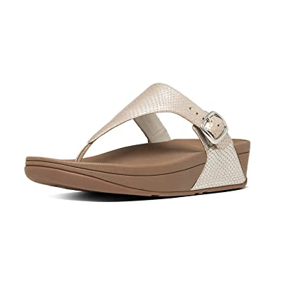 0765ac495bcf Fitflop W s The Skinny Snake-Embossed Leather Toe-Post Sandals Silver Snake  11