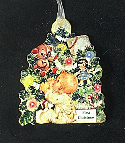 Baby's 1st Christmas Ornament Handcrafted Wood, Personalized Newborn Gift, Vintage Baby Card Nursery Decoration, Teddy Bear Doll