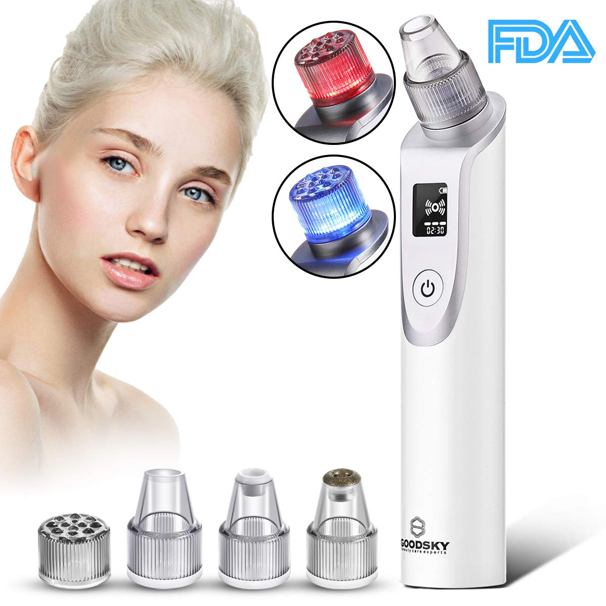 Blackhead Remover, Pore cleanser Vacuum Blackhead removal Suction Machine, Rechargeable Pore Cleaner Device for Facial Skin Treatment with Multi-Functional Replaceable 5 Probes with LED Screen LIKII