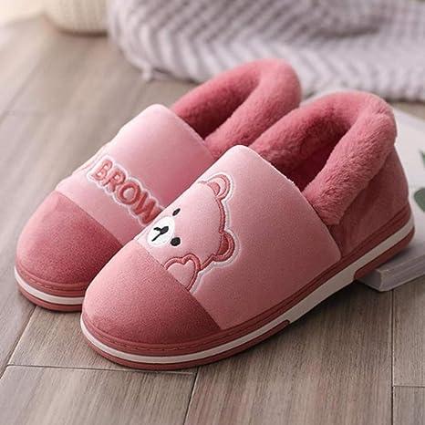 Zuyau Zapatillas de algodón Mujer Dibujos Animados Invierno Botas Cálidas Zapatos De Tacón Mujer Parejas Zapatillas ...