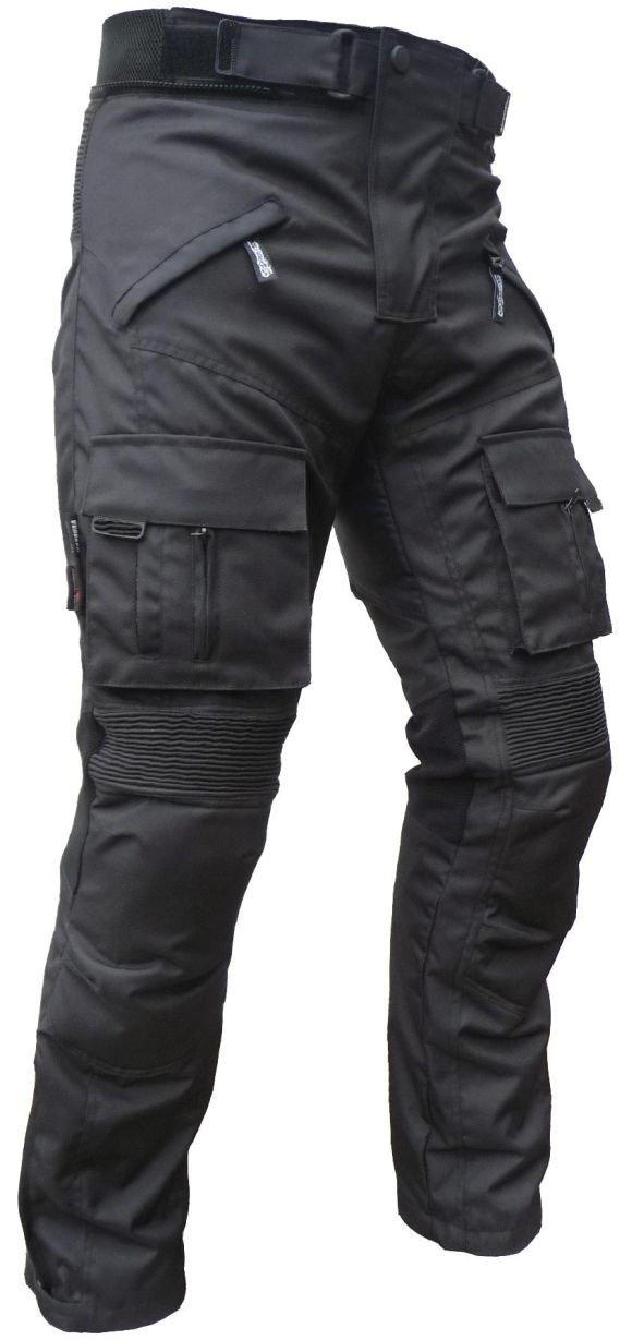Sportliche Motorrad Hose Motorradhose Schwarz mit Oberschenkeltaschen Gr. XL HEYBERRY 7207XL