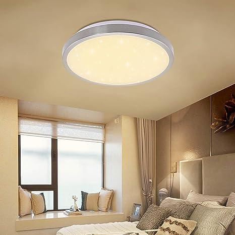Vgo plafón LED salón lámpara de cocina Starlight efecto techo iluminación lustre dormitorio comedor de bajo consumo (12W Redonda Blanco Cálido)