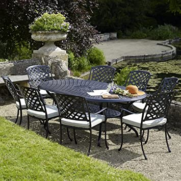 ancona oval table set with 8 venice armchairs black metal garden