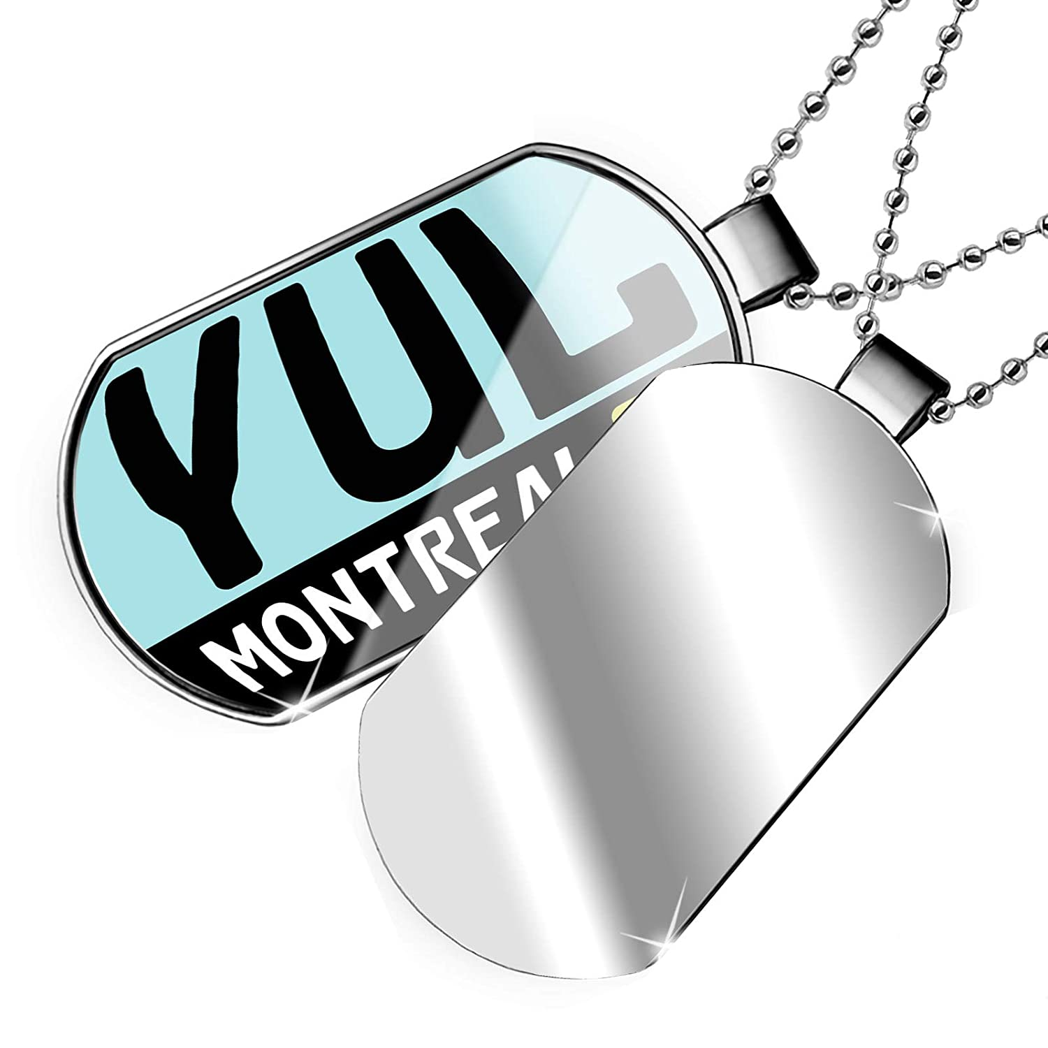 United States Dogtag Necklace NEONBLOND Personalized Name Engraved Airport Code YUL//Montreal Country
