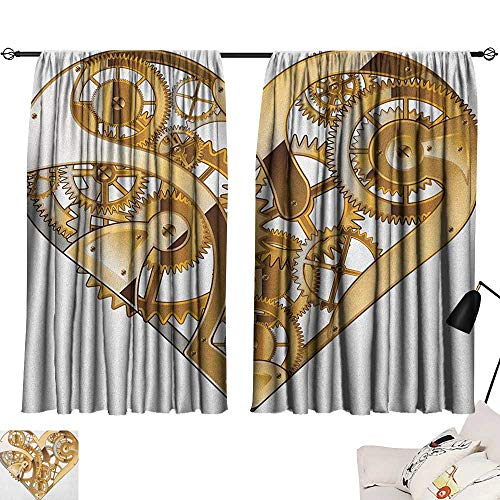 (Industrial reducing Noise Darkening Curtains Mechanic Heart Physical Bodies Complex Structure of Love Valentines Romance Curtains/Panels/Drapes Golden White W108 x L72)