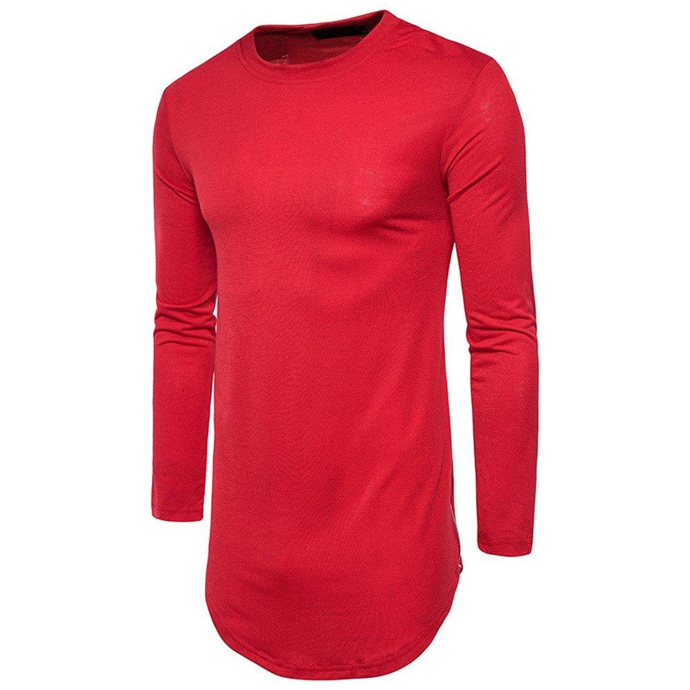 Herren T-Shirt Tops Herbst Winter Tops Streetwear Shirt Solide Langarm Casual T-Shirt Bluse Mode Sport Langarmshirts Rundkragen Kleider Aus 100% Baumwolle Felicove