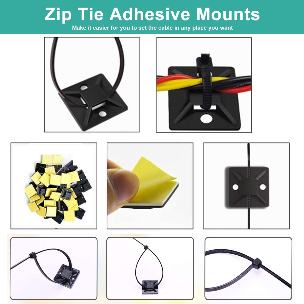 PLDDS Cable Zip Ties 500 Packs Durable Self-Locking Nylon Cable Zip Ties 4//6//8//10//12 Inch with 50 Pcs Cable Mount Black Black Heavy Duty Perfect for Home,Office,Garage and Workshop UV Resistant