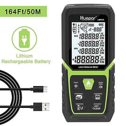 TECCPO T/él/ém/ètre laser 50 m de charge USB 30 min Capteur /électronique 99 stockage de donn/ées /Écran LCD 2,25 Distance de mesure Surface Volume Volume IP54 tr/épied