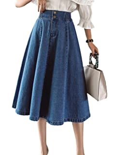 7585c78caac263 Innifer Womens Chic Elastic High Waist Button Front A-Line Pleated Midi  Denim Jean Skirt