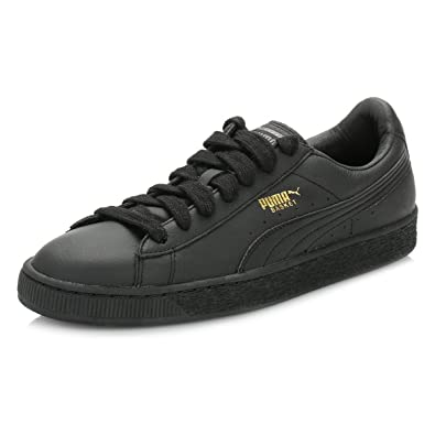 7024164bf59607 Puma Mens Black Basket Classic Leather Trainers  Amazon.co.uk  Shoes ...