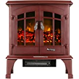 Free Standing Electric Fireplace Stove (Portable) - Jasper by e-Flame USA - 23-inches Tall - Rustic Red - Features Heater and Fan Settings with Realistic and Brightly Burning Fire and Logs