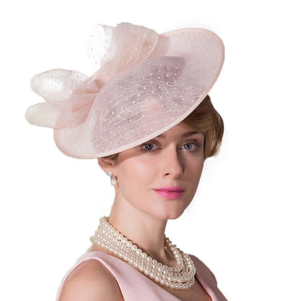 F FADVES Women Vintage Sinamay Fascinator Elegant Royal Wedding Derby Cocktail Tea Party Hat Pink
