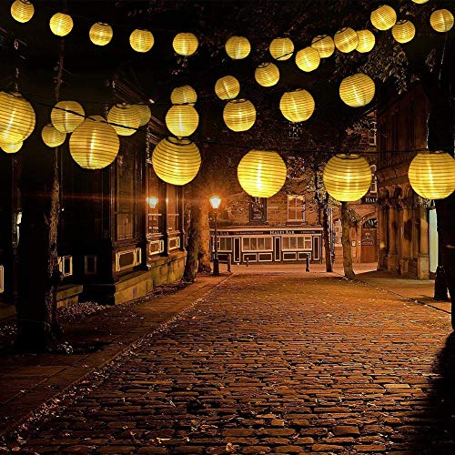 (Solar Lantern String Lights, Greenclick 6.5M/ 21.3fts 30 LED Waterproof Indoor Outdoor Solar Decorative Fairy Lights for Party, Garden, Wedding, Christmas and Holiday Decorations, Warm White)