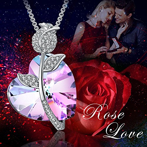 Swarovski Element Necklace Color Changing Crystal Rose Love Pendant Necklace for Women, Birthday Birthstone Jewelry Gifts for Girl, Amethyst Purple Pink, 18'' by PLATO H (Image #1)