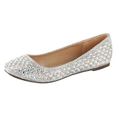 c7b93ed06 Summitfashions Womens Silver Glitter Flats Rhinestone Shoes Glitter Fabric Round  Toe Dressy Size  5