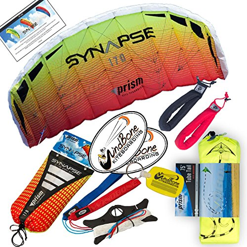 - Prism Synapse Foil Power Kite Mega Tail Bundle (4 Items) + Prism 75ft Tube Tail + Peter Lynn Heavy Duty Padded Kite Control Strap Handles Pair + WindBone Kiteboarding Lifestyle Stickers (170 Mango)