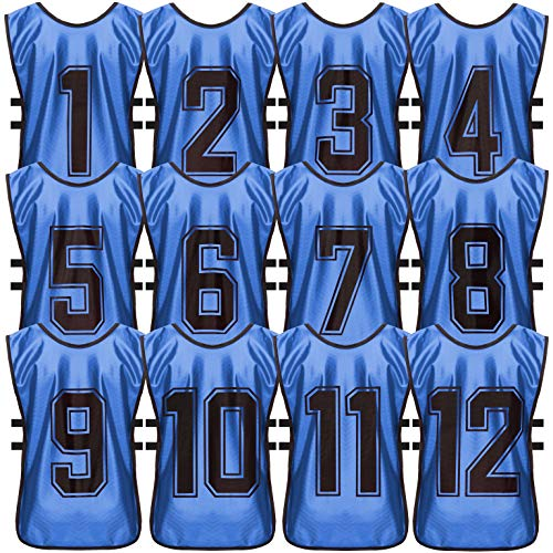 GAMBETA Premium Scrimmage Vests Set of 12 for Children, Youth and Adults. Perfect for Intramural, Team Practice, Scrimmages. Durable and 100% Polyester, Machine Washable (Dark Blue, Medium) ()
