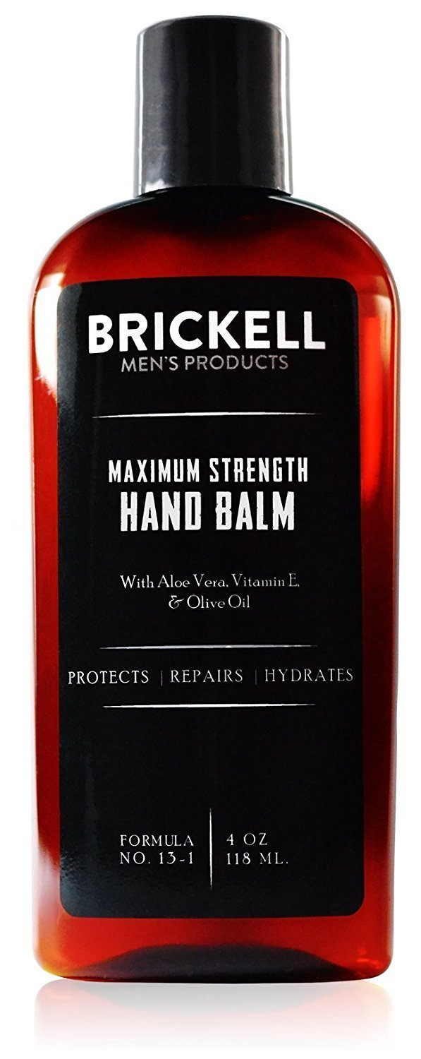Brickell Men's Maximum Strength Hand Lotion for Men, Natural and Organic Fast-Absorbing Hand Lotion with Vitamin E, Shea Butter, and Jojoba, 4 Ounce, Unscented