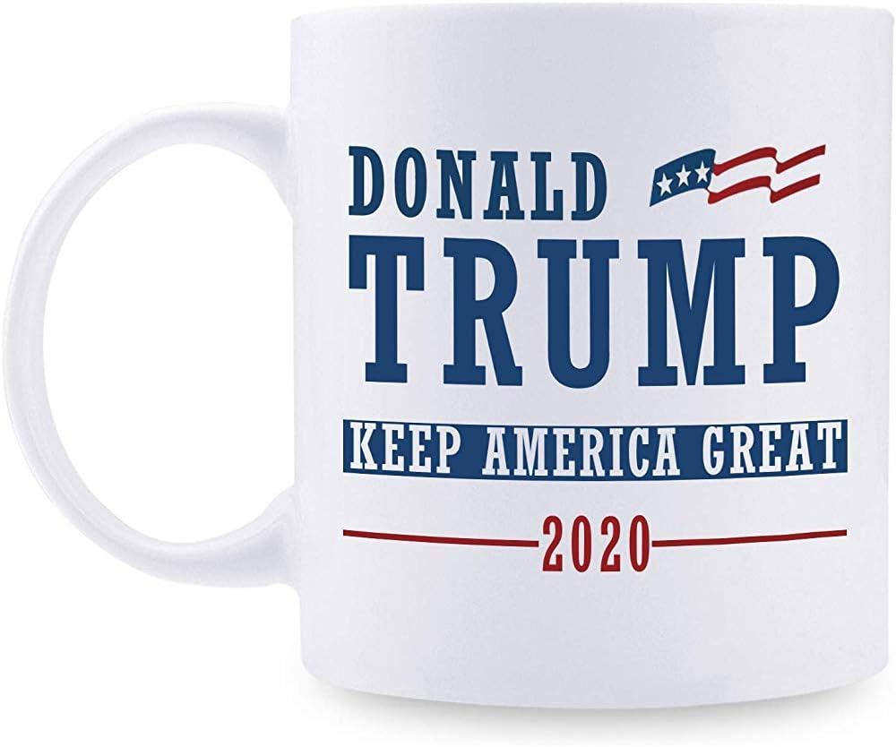 Keep America Great Donald Trump 2020 Mug Los mejores regalos de Trump Tazas de café para familias para Donald Trump Re Election Campaign 2020 11oz White