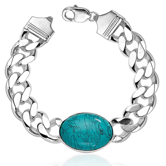 Taraash Curb 925 Sterling Silver Bracelet For Men ACDH400MIXA9 <span at amazon