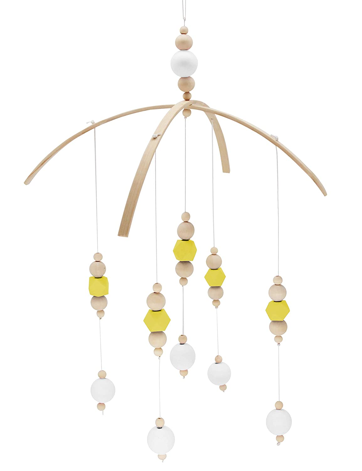 Designer Colors to Match Your Nursery and Delight Your Child 100/% Wooden Beads for Your Boy or Girl Babies Bed Room Dark Gray-11.819.2In Baby Crib Mobile