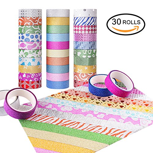 30 Kids Room Decor - Washi Tape Set of 30 Rolls - All Girls Favorite, Great For Arts and Crafts, DIY, Scrapbook -Decorative, Creative, Re-positional, Multi-purpose, Masking tape.