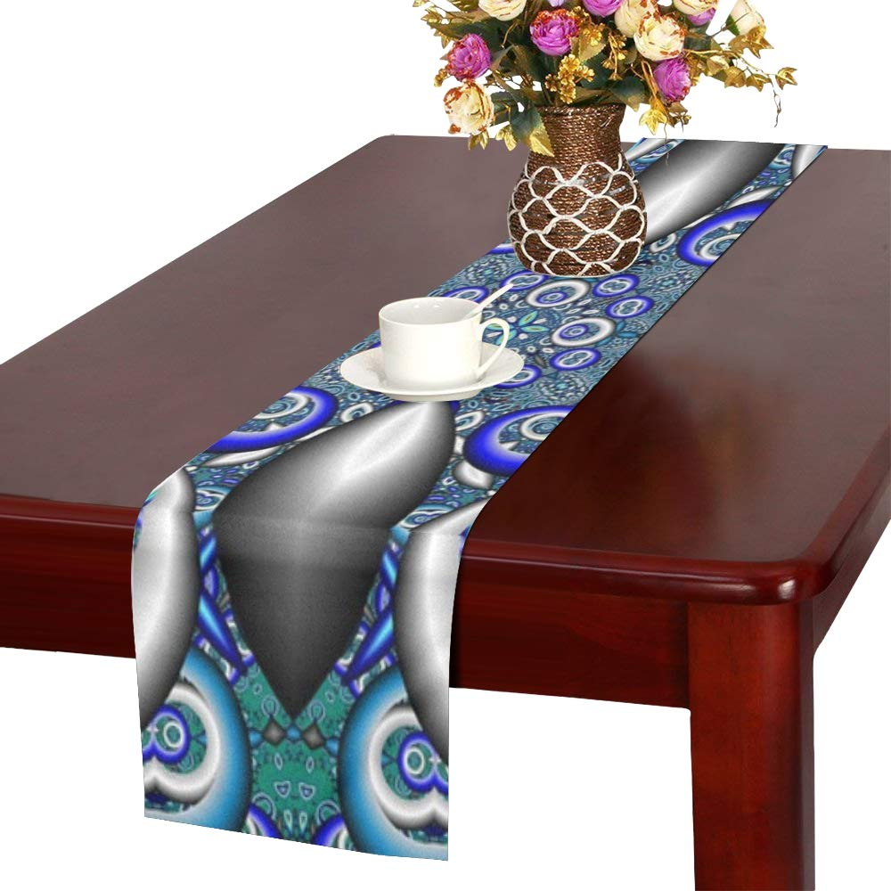 Fractal Cathedral Pattern Mosaic Window Glass Table Runner, Kitchen Dining Table Runner 16 X 72 Inch For Dinner Parties, Events, Decor
